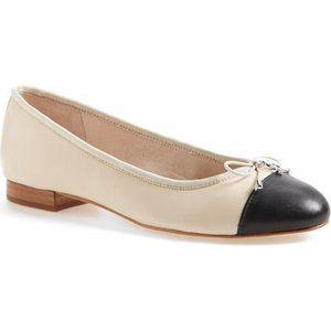 Sam Edelman Nude & Black Sara Flat Size 8 1/2